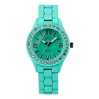 Eton Fashion Watch, Diamante Bezel, Mint Green Rubber Touch Finish 3166L-MT