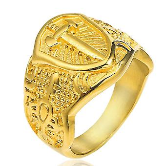 Knights templar sword cross shield gold ring