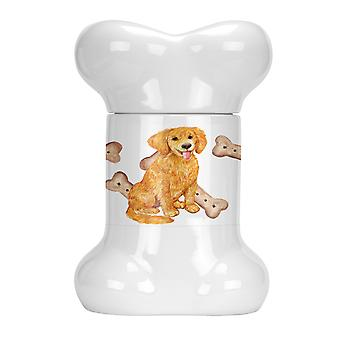 Carolines Treasures  CK2373BSTJ Golden Retriever Puppy Bone Shaped Treat Jar