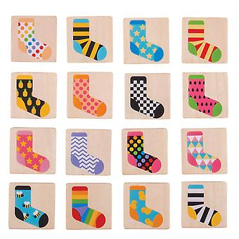 Bigjigs Toys Wooden Sock Memo Memory Observation Game Play Set