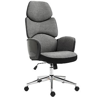 Vinsetto Modern Office Chair Ergonomic Thick Padding High Back Armrests Height Adjustable Rocking w/ 5 Wheels   Swivel Material Upholstery Home Work Comfortable Moving Base Grey Black