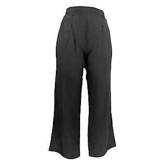 Anybody Women's Pants Petite Cozy Knit Wide-Leg Pants Black A347173