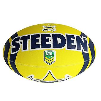 Steeden NRL North Queensland Cowboys Supporter 2020 Rugby Ball Yellow/Blue