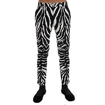Dolce & Gabbana White Black Zebra Cotton Stretch Slim Pants PAN60813-6