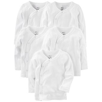 Simple Joys by Carter's Baby 5-Pack Side-Snap Long-Sleeve Shirt, White, 0-3 M...