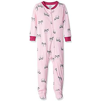 Essentials Baby Girls Zip-Front Footed Sleeper, Zebra Pink, 6-12M