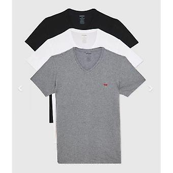 Pakkaus 3 T-paitaa Musta/Valkoinen/Harmaa