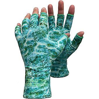 Glacier Glove Abaco Bay Fingerless Sun Gloves - Green Water Camo