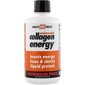 Health Direct, AminoSculpt Collagen Energy, Watermelon Punch, 30 fl oz (887 ml)