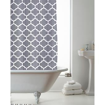 Country Club Shower Curtain Moroccan Grey 180 x 180cm