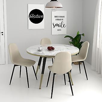 Axel/James 5Pc Dining Set - White Table/Beige Chair