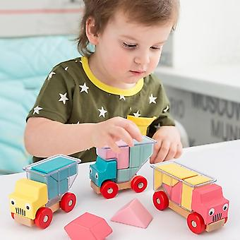 Assembling Wood Magnetic Truck Toy, Preschool Puzzle Game