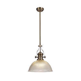 Luminosa Lighting - Telescopische Dome Plafondhanger E27 Met 38cm Dome Glass Shade, Antieke Messing, Clear