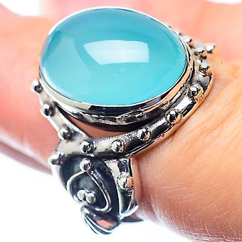 Aqua Chalcedony Ring Size 6.5 (925 Sterling Silver)  - Handmade Boho Vintage Jewelry RING26374