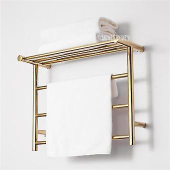 Z nerezovej ocele Gold Teplejšie Kúpeľňa WC vyhrievané vešiak na uteráky, sušenie Rack