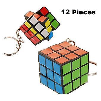 Mini Rubikova kocka na kľúč reťazca 12-Pack