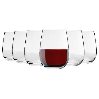 6 Piece Corto Stemless Wine Glasses Set - Modern Style Glass Tumblers for Red, White Wine - 475ml
