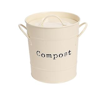 Industrial Compost Bin - Vintage Style Steel Kitchen Storage Bucket - Removable Inner - Cream