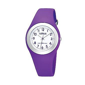 Lorus Youths Soft Purple Polyurethan Armband Uhr mit Edelstahl Lünette
