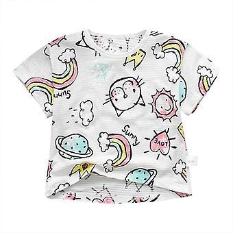 Roupa de bebê, camiseta de pescoço redondo de manga curta