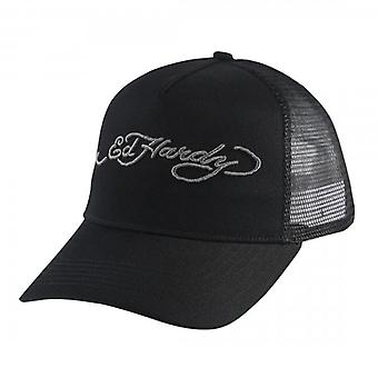 Ed Hardy Signature Black White Trucker Cap ED1306