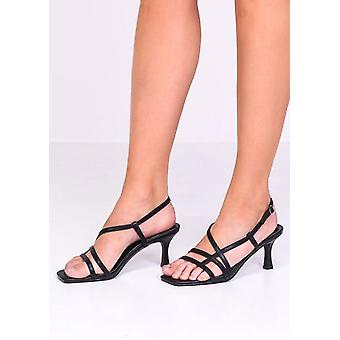 Faux Leather Strappy Kitten Heeled Sandals Black