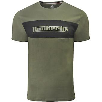 Lambretta Mens Panel Logo Crew Neck Retro Cotton T-Shirt Top Tee - Khaki