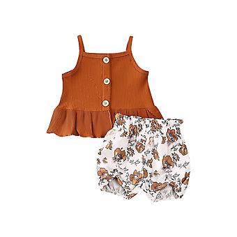 Sleeveless Knitted Vest Tops And Floral Print Shorts For Baby