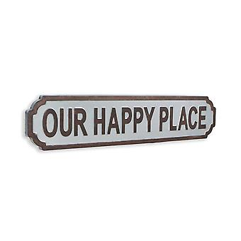 Gray Metal Decorative Wall Mounted Sign  Our Happy Place
