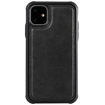For iPhone 11 Magnetic Shockproof PC + TPU + PU Leather Protective Case(Black)