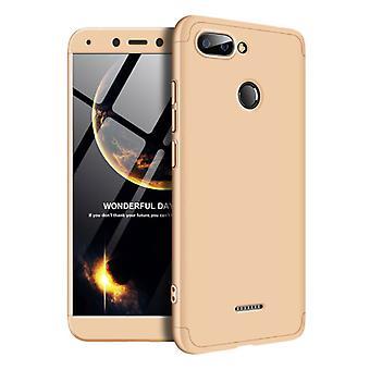 الاشياء المعتمدة® Xiaomi Redmi 7A تغطية كاملة - 360 ° حالة حالة الجسم + شاشة حامي الزجاج خفف الذهب