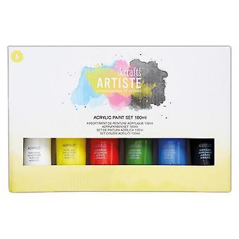 DoCrafts Artiste Akryl Paint Starter Set (6 X 100 ml primärfärger)