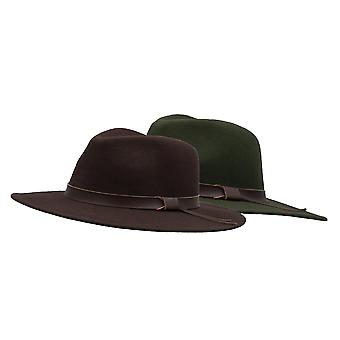 Walker and Hawkes - Unisex Ranger Fedora Crushable Felt Hat with Leather Trim