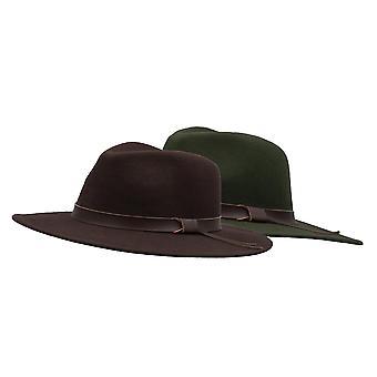 Walker e Hawkes - Unisex Ranger Fedora Crushable Felt Hat com Guarnição de Couro