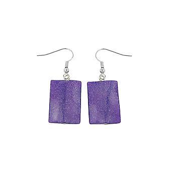 Hook Earrings Pillow Bead Purple