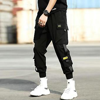 Men Elastic Waist Punk Pants With Ribbons Casual Slim Jogger Hip Hop Trousers