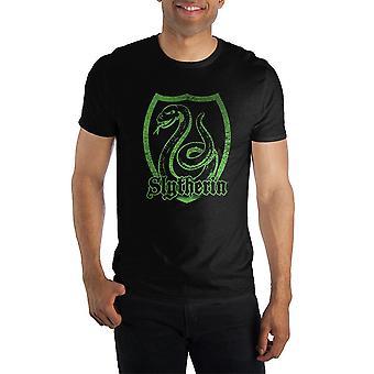 Harry potter slytherin logo specialità soft hand print t-shirt nera uomo