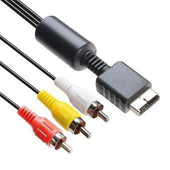 TechFlo TV AV RCA الصوت كابل الفيديو الرصاص كابل بلاي ستيشن 1 2 3 PS1 PS2 PS3