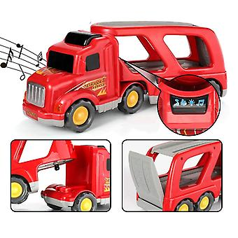Fire Carrier Truck Transport Car Play Vehicles - 5 In 1 Friction Power