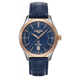 Roamer 703660 49 45 07 Rotopower Blue Dial Leather Strap Wristwatch
