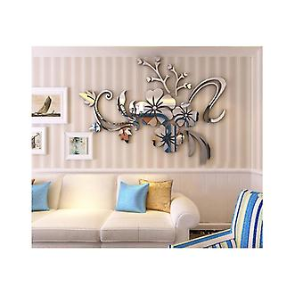 Diy Mirror Wall Stickers Flower Vine Adhesive Decals Removable Acrylic Art