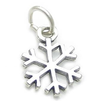 Snowflake Sterling Silver Charm .925 Snow Flake Weather Christmas Charms - 3760