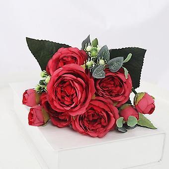 Bouquet Heads Artificial Flowers Peony Tea Rose Autumn Silk Fake Flowers