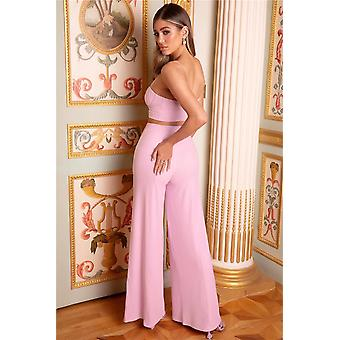 Sexy Solid Color Crop Top And Wide-leg Pants Two-piece Set
