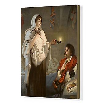 De dame met de lamp Florence Nightingale. Afdrukken van vakcanvas. Een kleurenillustratie van de.