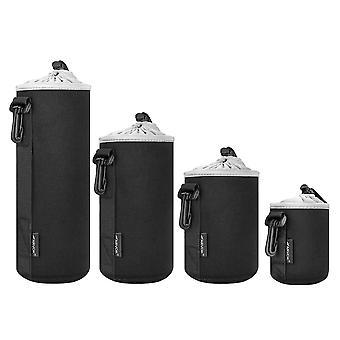 Conjunto de bolsas de lente arvok, caixas de lente protetora resistentes à água para lente de câmera dslr, camer de 4 tamanhos de espessura