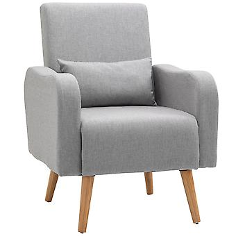 HOMCOM Linen Nordic Armchair Sofa Chair Solid Wood Living Room - Grey