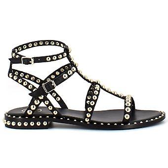 Sandalia gladiador preciosa de ceniza negra con tachuelas de oro