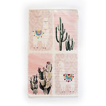 Spura Home Light Pink Cactus Llama Contemporary 3x5 Novelty Area Rug for Bedroom
