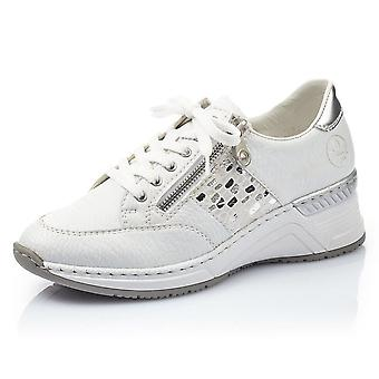 Rieker N4322-80 Kitty Smart Casual Lace-up Trainer In Weiß